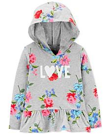 Toddler Girls Cotton Floral-Print Love Peplum Top