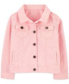 Big Girls Dot-Print Cotton Twill Denim Jacket