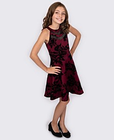 Big Girls Flocked Double-V Illusion Dress