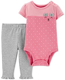 Baby Girls 2-Pc. Cotton Bear Bodysuit & Ruffled Pants Set