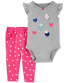 Baby Girls 2-Pc. Cotton Heart-Print Bodysuit & Pants Set