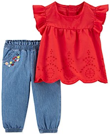 Baby Girls 2-Pc. Cotton Eyelet Top & Chambray Pants Set