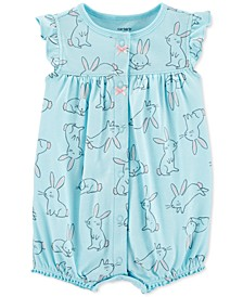 Baby Girls Bunny-Print Cotton Romper