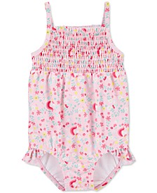Baby Girls 1-Pc. Smocked Floral-Print Swim Suit