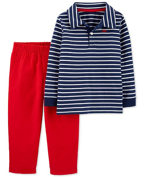 Carter's Toddler Boys 2-Pc. Cotton Striped Polo Shirt & Canvas Pants Set