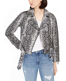 Snake-Embossed Leather Moto Jacket
