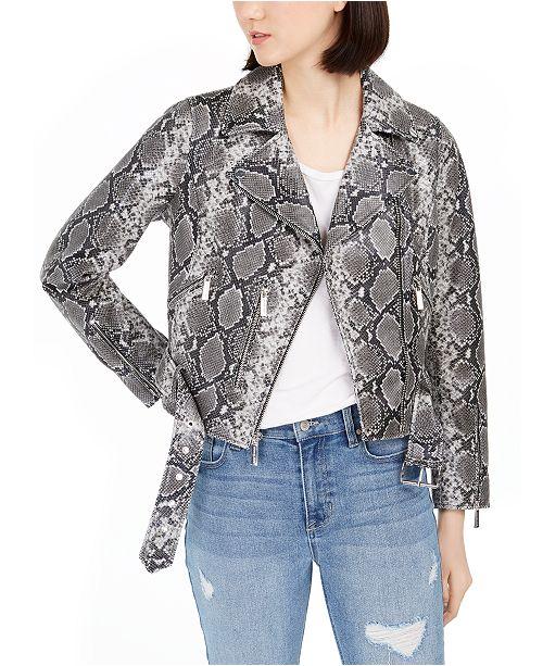 Michael Kors Snake-Embossed Leather Moto Jacket