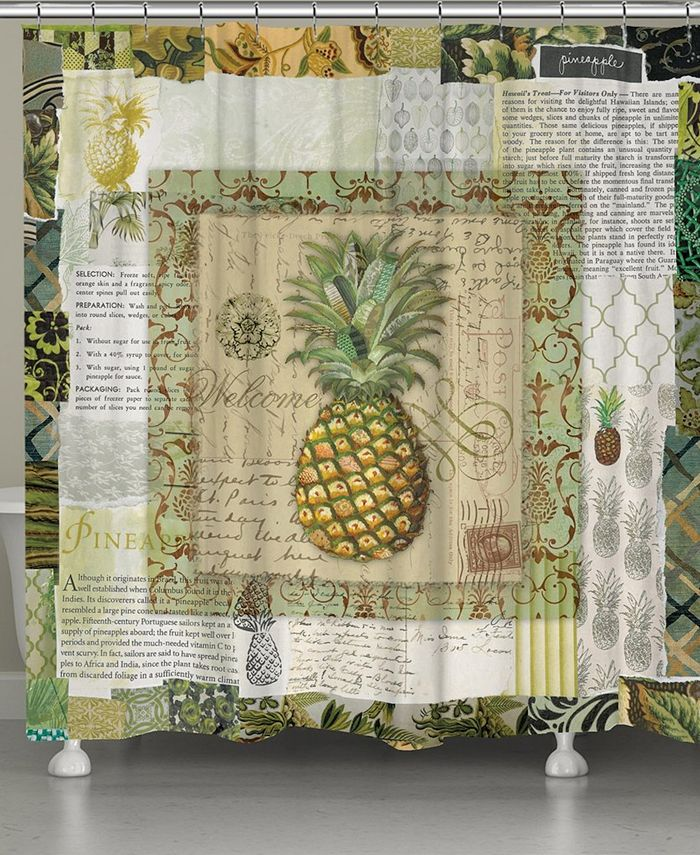 Laural Home - Pineapple Scrapbook Shower Curtain