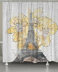 Daffodil Blooms Eiffel Tower Shower Curtain