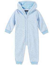 Baby Boys Hooded Logo-Print Coverall