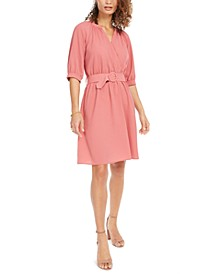 Petite Belted Faux-Wrap Dress