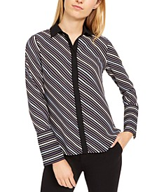 Milano Striped Wide-Cuff Blouse