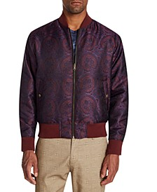 Men's Slim-Fit Ornate Paisley Reversible Bomber