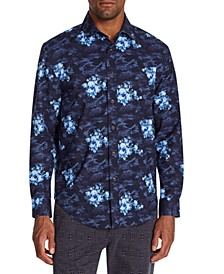 Men's Slim-Fit Performance Stretch Floral Camo Long Sleeve Shirt