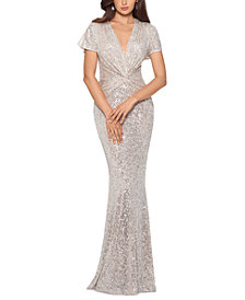 XSCAPE Twist-Front Sequinned Gown