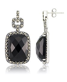 Marcasite and Faceted Onyx Square Post Earrings in Sterling Silver
