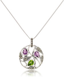 "Marcasite and Amethyst ( 1-3/4 ct. tw.) and Peridot (2-5/8 ct. t.w.) Paisley Round Pendant +18"" Chain in Sterling Silver"