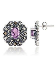 Marcasite and Amethyst (2-3/4 ct. t.w.) Flower Post Earrings in Sterling Silver