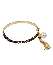 Rainbow Link Tassel Charm Bangle Bracelet
