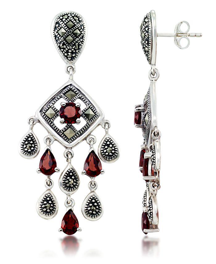 Macy's - Marcasite and Garnet (3-3/4 ct. t.w.) Chandelier Post Earrings in Sterling Silver