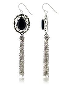 Marcasitre Faceted Onyx Tassel Wire Earrings in Sterling Silver