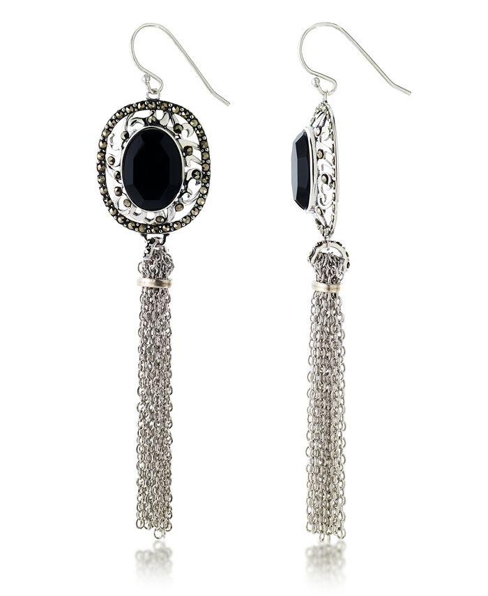 Macy's - Marcasitre Faceted Onyx Tassel Wire Earrings in Sterling Silver