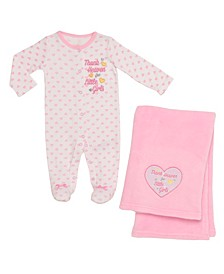 2 Piece Thank Heaven Layette and Blanket Set- Girls