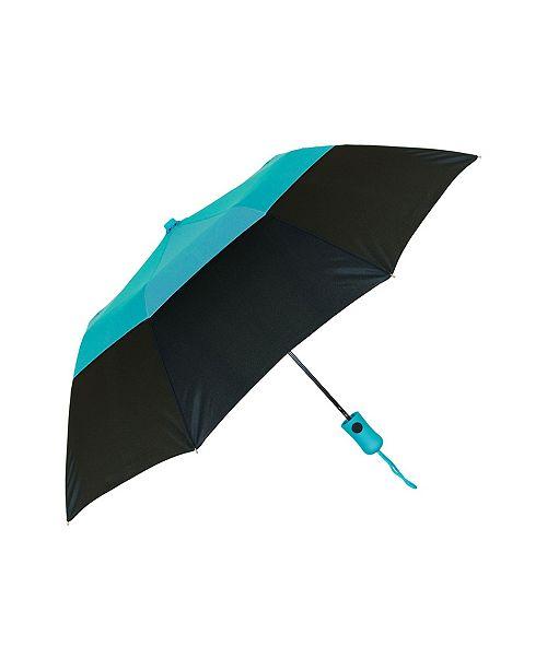 "Natico Originals Teal Blue and Black Vented Crown Umbrella, 42"""