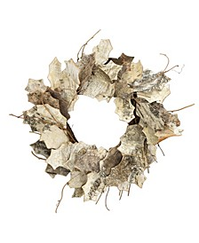"20"" D White Leaf Birch Wreath"