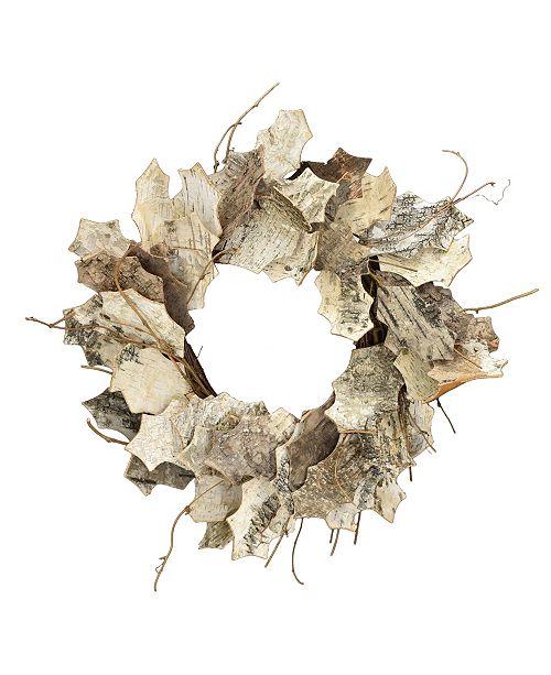 """Mills Floral 20"""" D White Leaf Birch Wreath"""