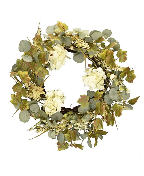 """Mills Floral 24"""" D Artificial Ivory Hydrangea and Eucalyptus Wreath"""