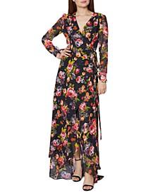 Floral-Print Wrap Maxi Dress