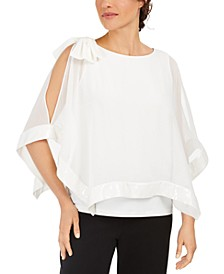 Bow Cold-Shoulder Capelet Top