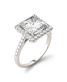 Moissanite Square Brilliant Halo Ring 3-5/8 ct. t.w. Diamond Equivalent in 14k White Gold