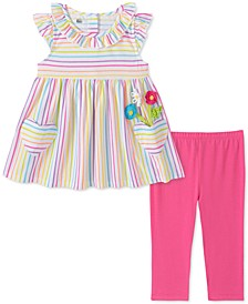 Little Girls 2-Pc. Multicolored Stripe Tunic & Leggings Set