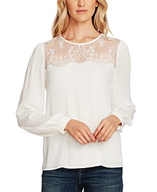 Lace-Yoke Pleated-Front Top