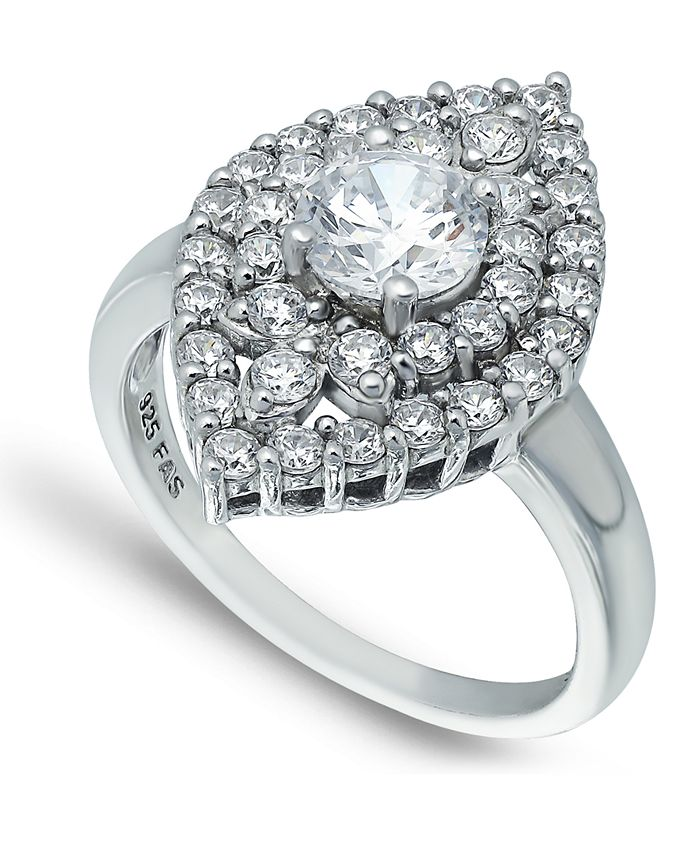 Macy's - Cubic Zirconia 2 Row Kite Halo with Round Prong Center Stone Ring in Fine Silver Plate