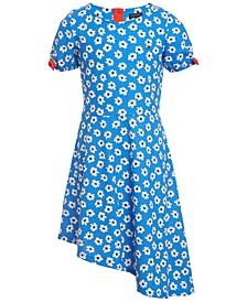 Big Girls Asymmetrical Floral-Print Dress
