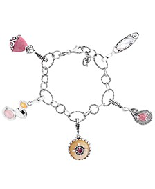 Pink Rhodonite and Yellow Mother of Pearl  5 Charm Link Bracelet in Sterling Silver