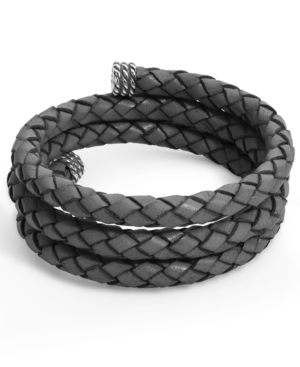 Gray Braided Leather Wrap Bracelet in Sterling Silver