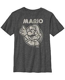 Nintendo Big Boy's Super Mario Pointing Line Art Short Sleeve T-Shirt