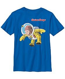 Curious George Big Boy's Happy Astronaut Portrait Short Sleeve T-Shirt