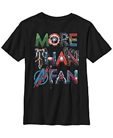 Marvel Big Boy's More Than A Fan Character Letter Text Word Stack Short Sleeve T-Shirt