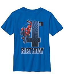 Marvel Big Boy's Spider-Man Swinging 4Th Birthday Short Sleeve T-Shirt