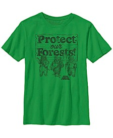 Star Wars Big Boy's Ewoks Protect Our Forests Camp Short Sleeve T-Shirt