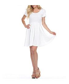 White Mark Meghan Short Sleeve Dress