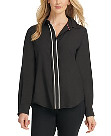Contrast-Placket Blouse