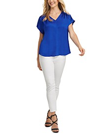 Dolman-Sleeve V-Neck Top