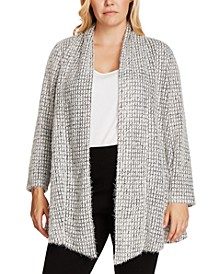 Plus Size Eyelash-Trim Draped-Front Cardigan