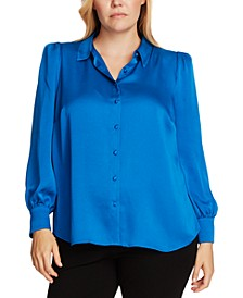 Plus Size Puff-Sleeve Shirt
